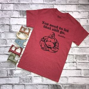 Spencer's Red Let Shit Go Buddha T-shirt Small